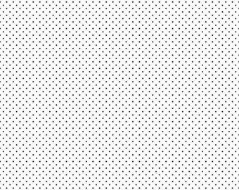 Swiss Dot on White Collection - Black -  Polka Dot - Quilting Cotton Fabric - Riley Blake Designs - ( C660-110-BLACK )