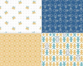 SALE - Cozy Christmas Collection - Blue - Navy - Fat Quarter Panel - by Lori Holt of Bee in My Bonnet for Riley Blake - ( FQP-7974-BLUE )