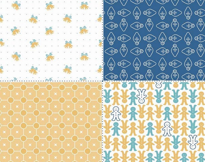 SALE - Blue - Navy - Fat Quarter Panel - Cozy Christmas Collection - Lori Holt of Bee in My Bonnet for Riley Blake Designs-( FQP-7974-BLUE )