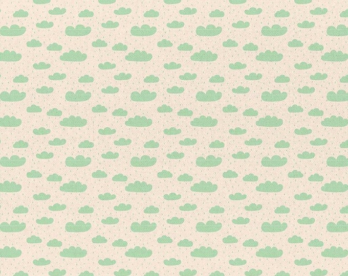 Cream - Green Clouds - Dinosaur Stories - Quilting Cotton Fabric - by Maria Vashchuk for Paintbrush Studio Fabrics - ( 120-20312 )