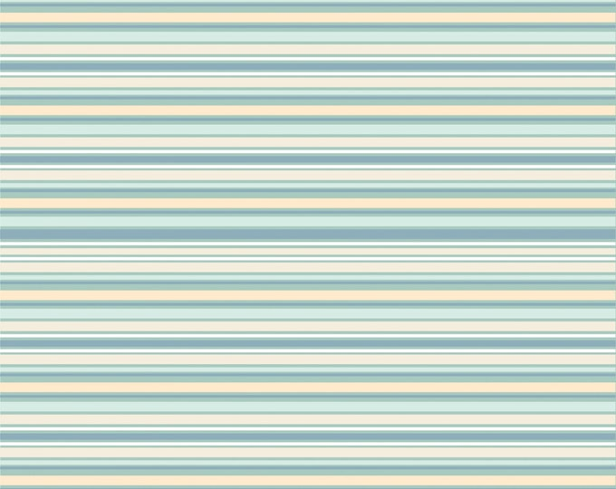 Teal - Stripes - Dots and Posies Collection - Quilting Cotton Fabric - by Poppie Cotton Fabrics - ( DP20405 )