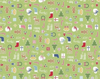 Cozy Christmas Collection - Green - Main - Quilting Cotton Fabric - by Lori Holt of Bee in My Bonnet for Riley Blake Designs-( C5360-GREEN )