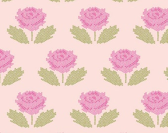 Blush - Stitch - Pixelated Flower - New Dawn - Quilting Cotton Fabric - Citrus & Mint Designs for Riley Blake Designs - ( C9852-BLUSH )
