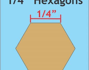 "Paper Piecing - 1/4"" inch - Hexagon Papers - English Paper Piecing - 200 Count - ( HEX025 )"