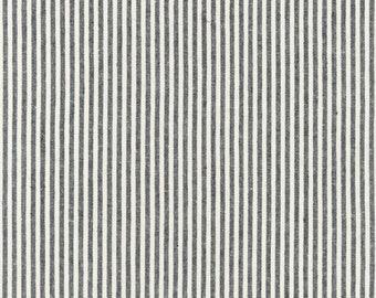 Essex - Black - Yarn Dyed - Woven - Linen Cotton - Vertical Stripes - by Robert Kaufman - ( SRK175872 )