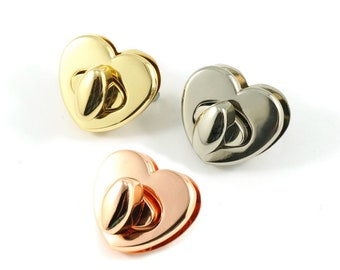 Heart Shape Bag Lock - by Emmaline - Available in Multiple Colors - Bag Hardware - ( HEART )
