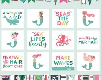 Ahoy! Mermaids Collection - Panel - Quilting Cotton Fabric - by Melissa Mortenson for Riley Blake Designs - ( P10348-PANEL )