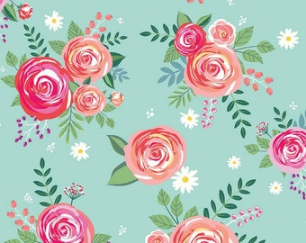 Poppy & Posey Collection - Mint - Main - Quilting Cotton Fabric - by Dodi Lee Poulsen for Riley Blake Designs ( C10580-MINT )