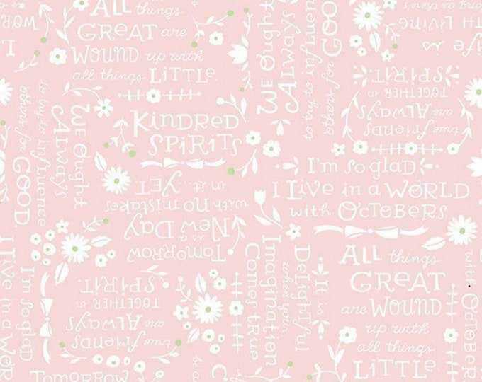 Anne of Green Gables - Kindred Spirits - Cream Text Quotes Pink - Quilting Cotton Fabric - Riley Blake Designs - ( C8534-PINK )