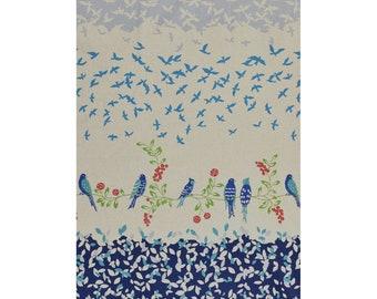 Bird Song Collection - Navy - Blue - Kokka Echino - Canvas - Cotton Linen - by Etsuko Furuya - ( KOKJG-90010-010-D )