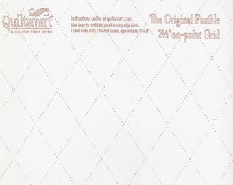 """Grid on Point - 2.5"""" inch - 2-1/2 inch - Fusible Interfacing - Grid - Quiltsmart - """" Tips in Description-PDF"""" - ( QS65064 )"""