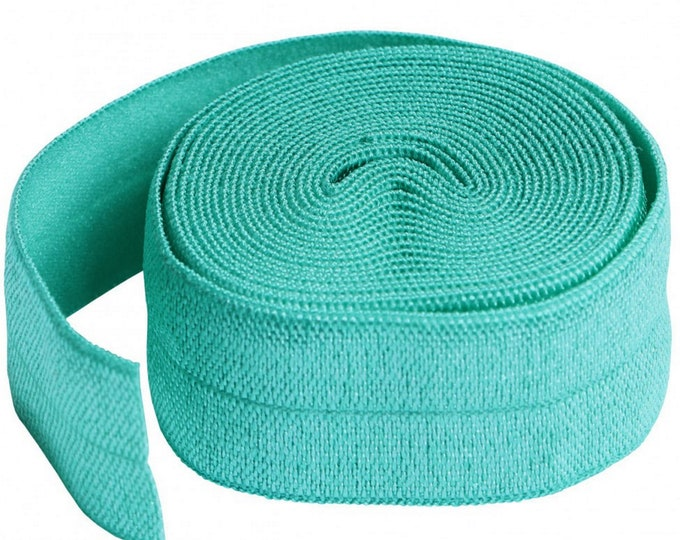 "Fold-over Elastic - Turquoise or White Color - 3/4"" inches x 2 yards - by Annie - ( SUP211-2 )"