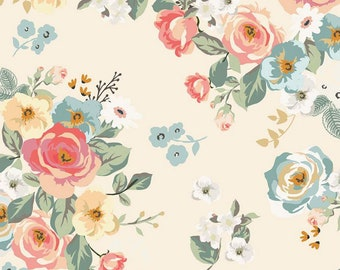 Gingham Gardens Collection - Cream - Main - Quilting Cotton Fabric - by My Mind's Eye for Riley Blake Designs - ( C10350-CREAM )