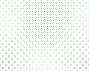 Bee Backgrounds Collection - Turquoise - Diamond - Quilting Cotton Fabric - by Lori Holt of Bee in My Bonnet - ( C6386-TURQUOISE )