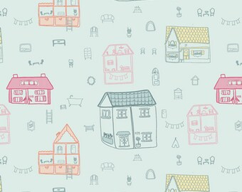 Doll House Town - Daydream Collection - Quilting, Apparel, Cotton Fabric - by Patty Basemi for Art Gallery Fabrics - AGF - ( DDR-25445 )