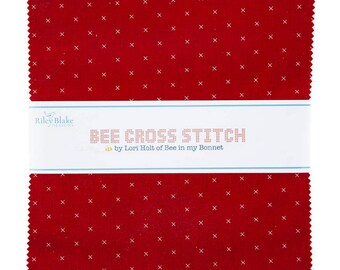 """Bee Cross Stitch Collection - 10"""" inch Stacker - Quilting Cotton Fabric - By Lori Holt of Bee in My Bonnet for Riley Blake - ( 10-745-42 )"""