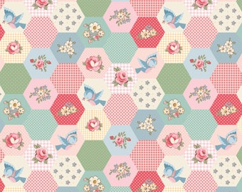 Multi - Birds and Hexies - Dots and Posies Collection - Quilting Cotton Fabric - by Poppie Cotton Fabrics - ( DP20421 )