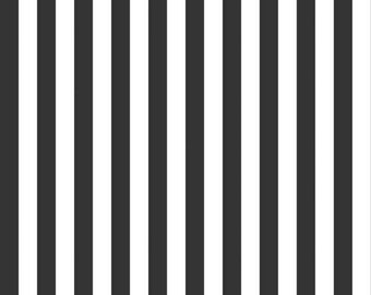 Black and White - 1/2 Half Inch Stripe - Quilting Cotton Fabric - Riley Blake Designs - ( C530-110-BLACK )