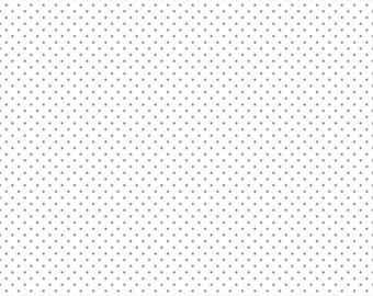 Swiss Dot on White Collection - Gray - Polka Dot - Quilting Cotton Fabric - Riley Blake Designs - ( C660-40-GRAY )