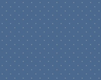 Bee Cross Stitch Collection - Denim - Quilting Cotton Fabric - by Lori Holt of Bee in My Bonnet for Riley Blake Designs - ( C745-DENIM )