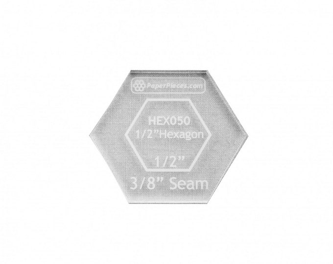"Ruler - Clear - Acrylic Fabric Cutting Template - 1/2"" inch Hexagon Template - ( ACRHEX050 )"