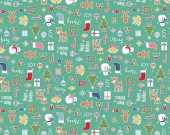 Cozy Christmas Collection - Teal - Main - Quilting Cotton Fabric -by  Lori Holt of Bee in My Bonnet for Riley Blake Designs - ( C5360-TEAL )