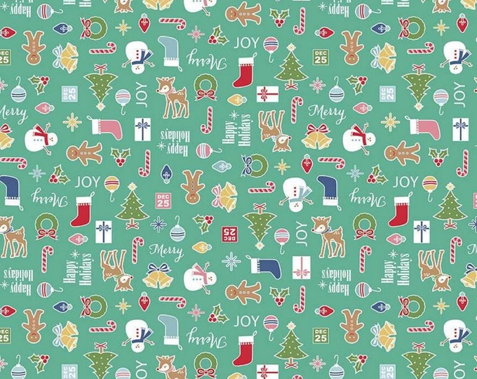 Teal - Main - Cozy Christmas Collection - Quilting Cotton Fabric - Lori Holt of Bee in My Bonnet for Riley Blake Designs - ( C5360-TEAL )