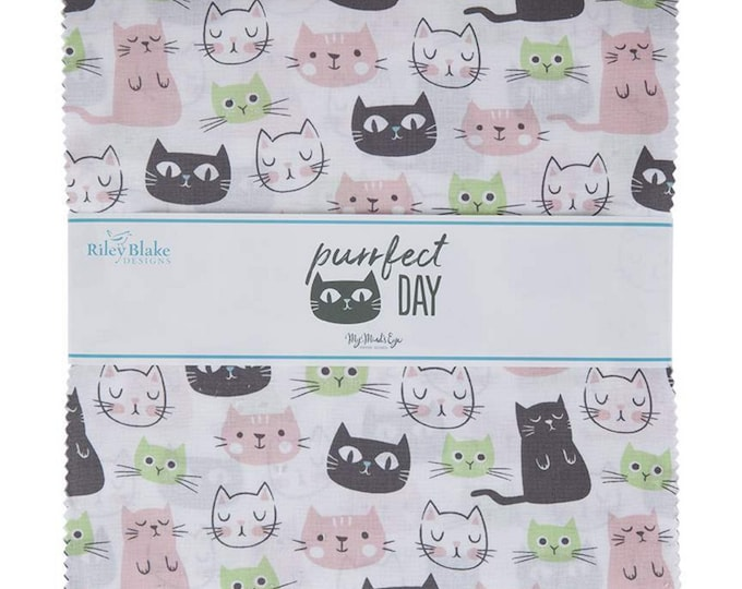 """Purrfect Day - 10"""" inch Stacker - 42 Piece - Layer Cake - Quilting Cotton Fabric - by My Mind's Eye for Riley Blake Designs - ( 10-9900-42 )"""