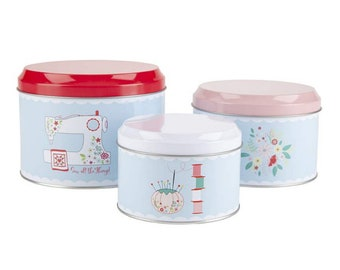 Sewing Canister Set - by Beverly McCullough for Riley Blake Designs - ( ST-21872 )