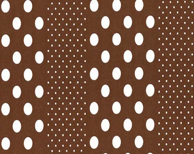 Brown - Dots and Stripes - Orchard Kitchen - Quilting Cotton Fabric - by Lecien Fabrics - ( 31740L-80 )