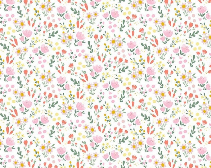 White - Floral - Easter Egg Hunt - Quilting Cotton Fabric - by Natàlia Juan Abelló for Riley Blake Designs - ( C10274-WHITE )