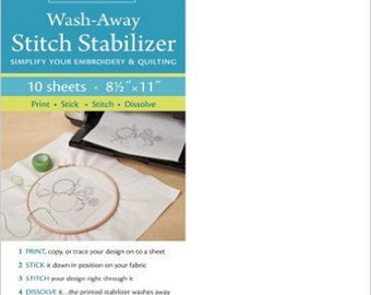 Wash-Away Stitch Stabilizer - Simplify the Embroidery and Quilting - 10 Sheets, 8-1/2in x 11in - ( 20203 )