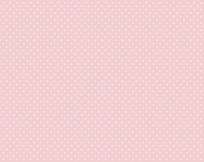 Baby Pink - Swiss Dot with White Dots -  Polka Dot - Quilting Cotton Fabric - Riley Blake Designs - ( C670-BABYPINK )