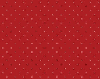 Bee Cross Stitch Collection - Barnred - Quilting Cotton Fabric - by Lori Holt of Bee in My Bonnet for Riley Blake Designs - ( C745-BARNRED )