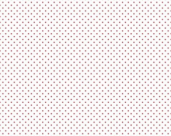 Swiss Dot on White - Red - Polka Dot - Quilting Cotton Fabric - Riley Blake Designs - ( C660-80-RED )