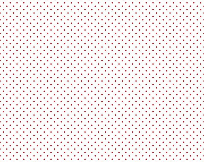 Red - Swiss Dot on White - Polka Dot - Quilting Cotton Fabric - Riley Blake Designs - ( C660-80-RED )