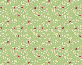 Bake Sale 2 Collection - Green - Strawberry - Quilting Cotton Fabric - Lori Holt of Bee in my Bonnet for Riley Blake - ( C6985-GREEN )