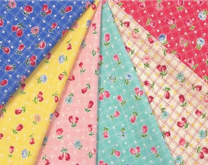 Fat Quarter Bundle - Tulips - Floral - Tulip Garden Collection - by Atsuko Matsuyama - 6 Fabrics - ( AMTULIP-FQ )