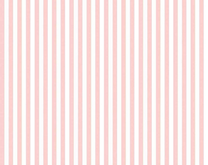 Baby Pink and White - 1/4 Quarter Inch Stripe - Quilting Cotton Fabric - Riley Blake Designs - ( C555-BABYPINK )
