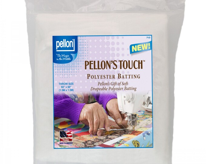 "Quilters Touch 100% Poly Batting - Throw-Sized 60""inch x 60""inch - Interfacing Packaged - Pellon - ( P-60P )"