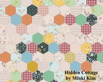 Hidden Cottage - Hexagon - Forest - Quilting Cotton Fabric - by Minki Kim for Riley Blake Designs - ( C10761-FOREST )