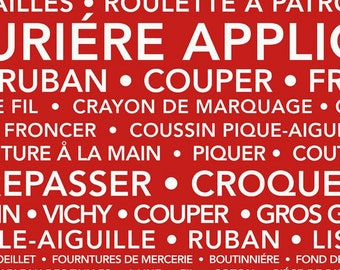 Couturiere Parisienne French Collection - Red - Quilting Cotton Fabric -  by J. Wecker Frisch for Riley Blake Designs - ( C8848-RED )