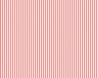 Stripes Collection - Lipstick and White - 1/8 Eighth Inch Stripe - Quilting Cotton Fabric - Riley Blake Designs - ( C495-LIPSTICK )