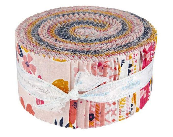 "Golden Aster - Rolie Polie 2 1/2"" inch Strip Bundle - Quilting Fabric - by Gabrielle Neil for Riley Blake Designs - ( RP-9840-40 )"