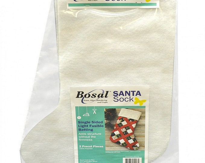 Santa Sock - Stocking - Single Sided Light Fusible Batting - 2 Pre-cut Pieces - by Bosal - ( 426LF-25 )