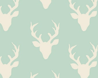 Mint - Buck Forest - Hello Bear Collection - Quilting, Apparel, Cotton Fabric - by Bonnie Christine for Art Gallery Fabrics - ( HBR-4434-1 )