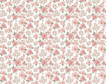 Dots and Posies Collection - White - Mini Fleurs - Quilting Cotton Fabric - by Poppie Cotton Fabrics - ( DP20412 )