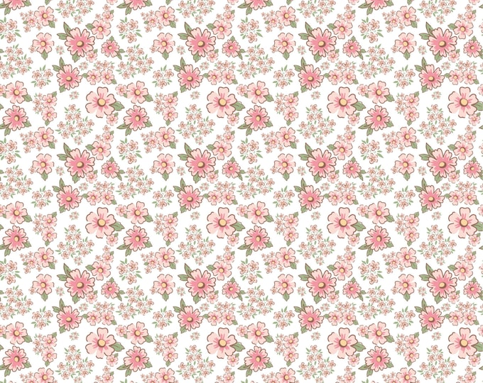 White - Mini Fleurs - Dots and Posies Collection - Quilting Cotton Fabric - by Poppie Cotton Fabrics - ( DP20412 )