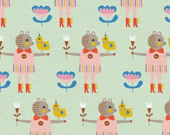 Step Right Up Collection - Mint - Bird & Bear - Quilting Fabric - by Suzy Ultman for Paintbrush Studios - ( PSF120-21346 )