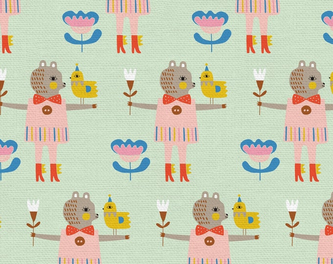 Mint Green - Bird & Bear - Step Right Up Collection - Quilting Fabric - by Suzy Ultman for Paintbrush Studios - ( PSF120-21346 )